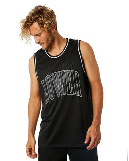 BLACK WHITE MENS CLOTHING LOWER SINGLETS - LO18Q4MSI06BLKWH