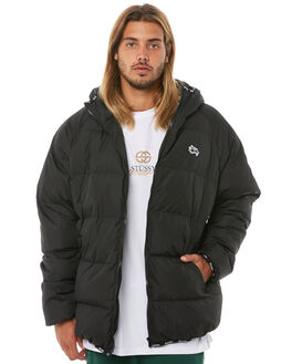 BLACK MENS CLOTHING STUSSY JACKETS - ST081504BLK