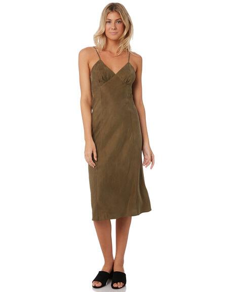 ARMY GREEN WOMENS CLOTHING THRILLS DRESSES - WTW9-910FARMY