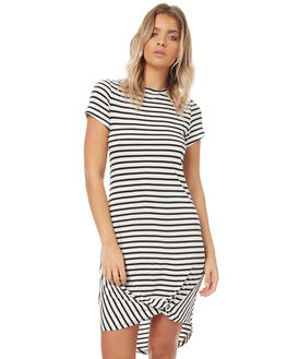 WHITE BLACK STRIPE WOMENS CLOTHING SILENT THEORY DRESSES - 6008016STR