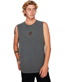 BLACK MENS CLOTHING RVCA SINGLETS - RV-R192011-BLK