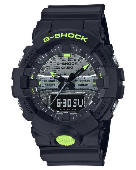 BLACK YELLOW MENS ACCESSORIES G SHOCK WATCHES - GA800DC-1ABKYEL