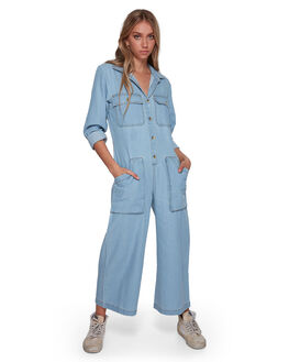 CHAMBRAY WOMENS CLOTHING BILLABONG PLAYSUITS + OVERALLS - BB-6507436-CBY