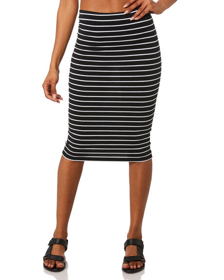 BLACK WHITE STRIPE WOMENS CLOTHING BETTY BASICS SKIRTS - BB212BLKW