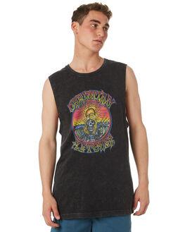 BLACK ACID MENS CLOTHING RVCA SINGLETS - R182001BKACD