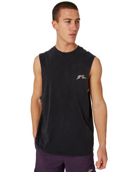 BLACK MENS CLOTHING RUSTY SINGLETS - MSM0235BLK