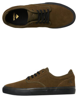 OLIVE BLACK MENS FOOTWEAR EMERICA SKATE SHOES - 6101000104-302