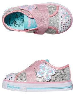 SILVER PINK KIDS TODDLER GIRLS SKECHERS FOOTWEAR - 10798NSLPK