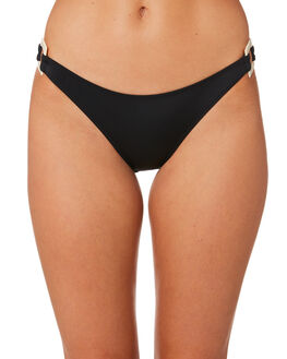 BLACK WOMENS SWIMWEAR SOLID AND STRIPED BIKINI BOTTOMS - WS-1903-1014BLK
