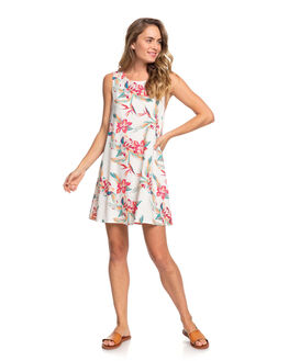SNOW WHITE TROPIC WOMENS CLOTHING ROXY DRESSES - ERJWD03410-WBK7