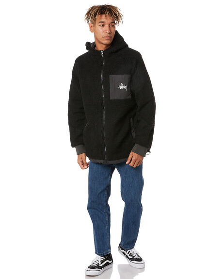 BLACK BLACK MENS CLOTHING STUSSY JACKETS - ST007508BLKBLK