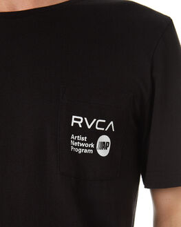BLACK MENS CLOTHING RVCA TEES - R183056BLK