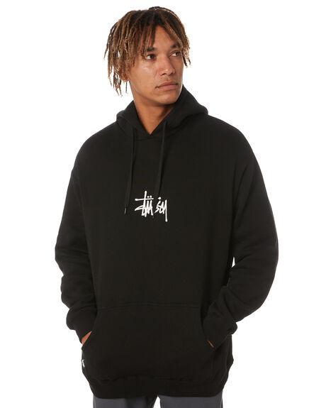 BLACK MENS CLOTHING STUSSY HOODIES + SWEATS - ST011200BLK