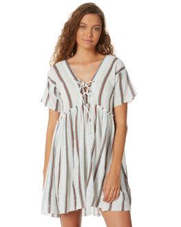 WHT TEAL BURNT STRP WOMENS CLOTHING RUE STIIC DRESSES - SW18-28WSSTR