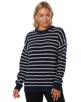 NAVY WHITE STRIPE WOMENS CLOTHING SWELL KNITS + CARDIGANS - S8173148NVYS