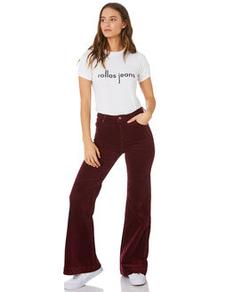 BORDEAUX CORD WOMENS CLOTHING ROLLAS JEANS - 12888-4342