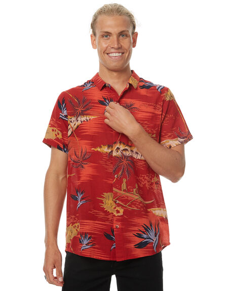 TROPICAL RED MENS CLOTHING ROLLAS SHIRTS - 150403002