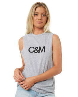 GREY BLACK WOMENS CLOTHING C&M CAMILLA AND MARC SINGLETS - SCMT6515GRYB