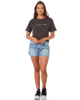 BLACK WOMENS CLOTHING COOLS CLUB TEES - 108-CW4BK