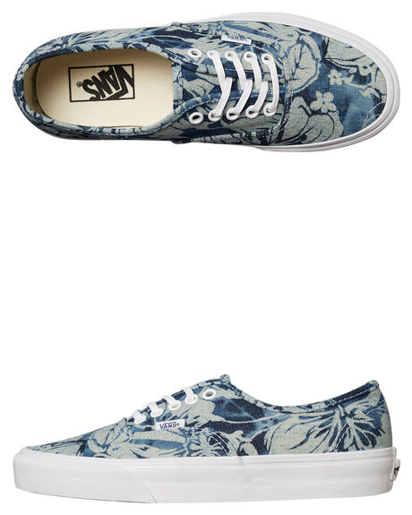 WHITE BLUE PRINT WOMENS FOOTWEAR VANS SNEAKERS - SSVN-03B9IEJWHTW