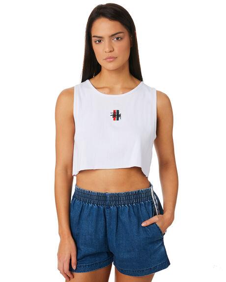 WHITE WOMENS CLOTHING STUSSY SINGLETS - ST183230WHI