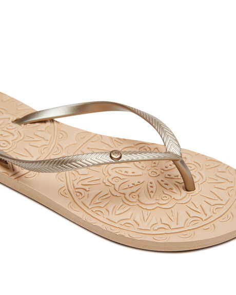 GOLD CREAM WOMENS FOOTWEAR ROXY THONGS - ARJL100798GCR
