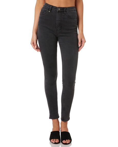 WASTED BLACK WOMENS CLOTHING THRILLS JEANS - WTDP-427WBWBLK