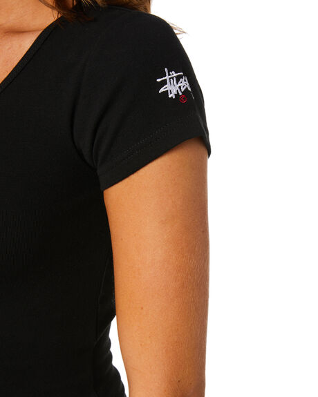 BLACK WOMENS CLOTHING STUSSY TEES - ST1M0176BLK