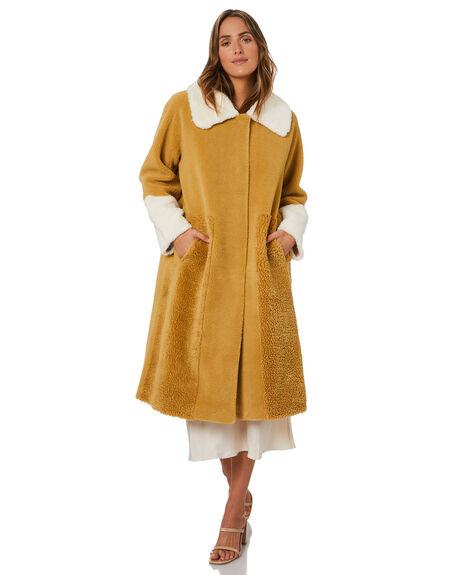 MUSTARD AND CREAM WOMENS CLOTHING UNREAL FUR JACKETS - URF8200455MACR