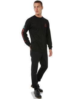 BLACK MENS CLOTHING HUF TEES - TS00213BLK