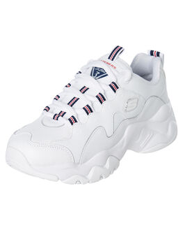 WHITE NAVY RED WOMENS FOOTWEAR SKECHERS SNEAKERS - 13376WNVR