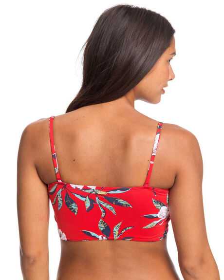 CHINESE RED TROPICAL WOMENS SWIMWEAR ROXY BIKINI TOPS - ERJX304036-RQQ6