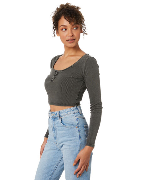 WASHED BLACK WOMENS CLOTHING SILENT THEORY TEES - 6073042WBLK