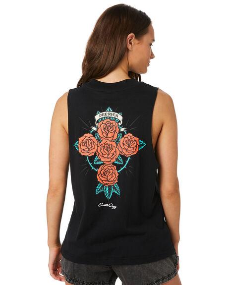 BLACK WOMENS CLOTHING SANTA CRUZ SINGLETS - SC-WTC9896BLK