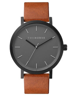 MATTE BLACK TAN MENS ACCESSORIES THE HORSE WATCHES - HORSEUNIBKTN