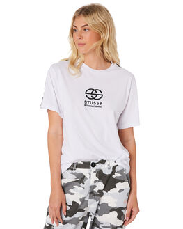 WHITE WOMENS CLOTHING STUSSY TEES - ST183009WHI