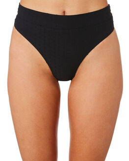 BLACK TEXTURED WOMENS SWIMWEAR NINE ISLANDS BIKINI BOTTOMS - M8184348BLKTX