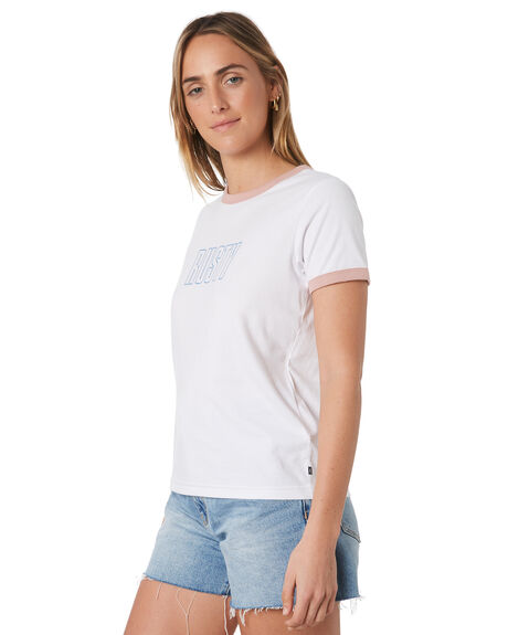 WHITE OUTLET WOMENS RUSTY TEES - TTL1036WHT