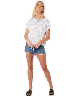 WHITE GREY MARLE WOMENS CLOTHING RUSTY TEES - FSL0547WGM