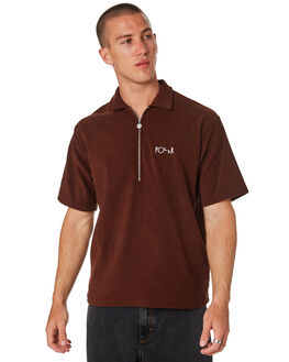 BROWN MENS CLOTHING POLAR SKATE CO. SHIRTS - PSC-TERPIQBRWN