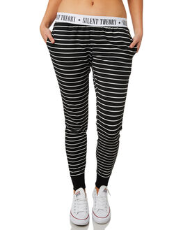 BLACK WHITE STRIPE WOMENS CLOTHING SILENT THEORY PANTS - 6022007STR