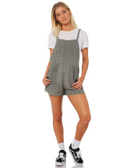 BLACK PLAID WOMENS CLOTHING RVCA PLAYSUITS + OVERALLS - R282751BLK