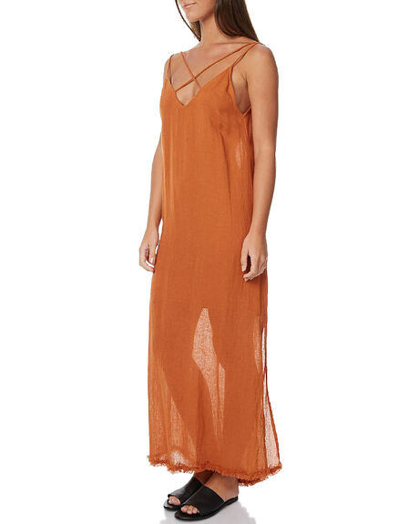 TERRACOTTA LINEN WOMENS CLOTHING RUE STIIC DRESSES - BC7TER