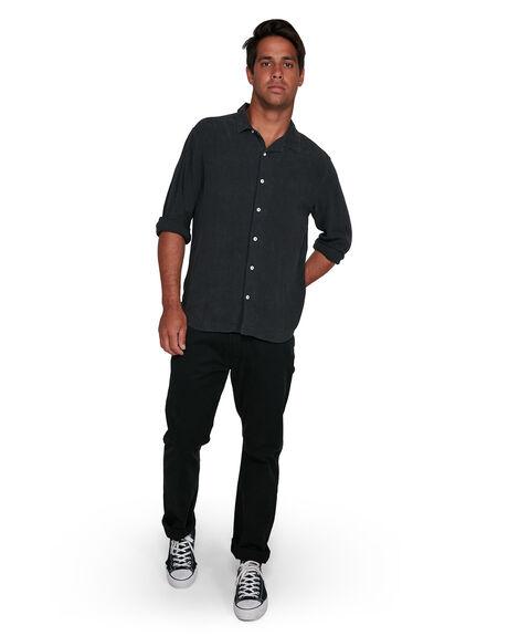 BLACK MENS CLOTHING RVCA SHIRTS - RV-R305205-BLK