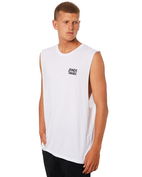 WHITE OUTLET MENS AFENDS SINGLETS - M184081WHI