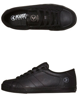 BLACK LEATHER KIDS BOYS KUSTOM SNEAKERS - 4806103JIBLK