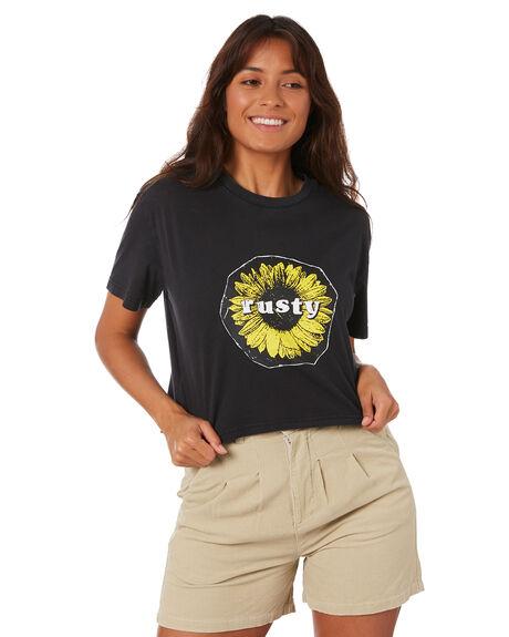 GRAPHITE BLACK WOMENS CLOTHING RUSTY TEES - TTL1113-GBLK