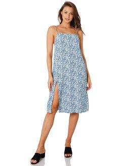 DESERT FLORAL BLUE WOMENS CLOTHING RUE STIIC DRESSES - RWS-19-01-1DSRTB