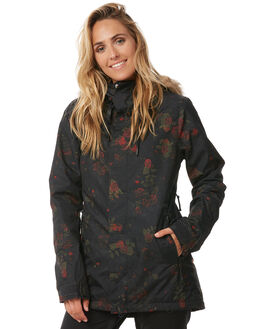 BLACK FLORAL PRINT SNOW OUTERWEAR VOLCOM JACKETS - H0451807BFP