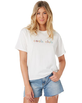 WHITE WOMENS CLOTHING COOLS CLUB TEES - 100-CW3WHI